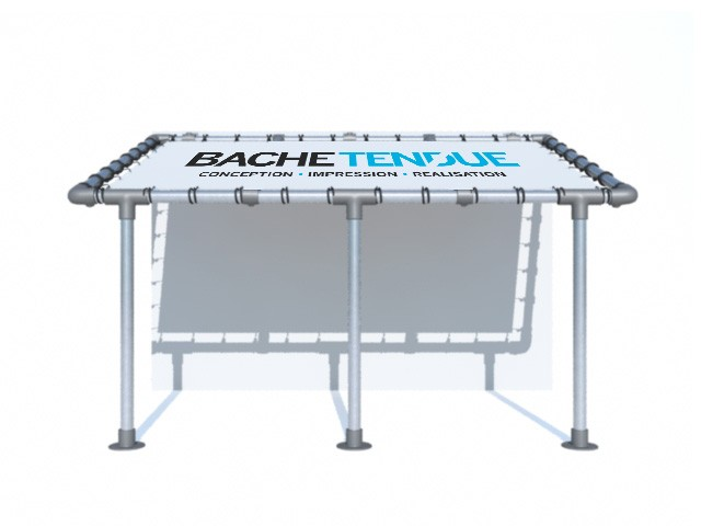 bache tendue pergola murale en aluminium avec syst me de. Black Bedroom Furniture Sets. Home Design Ideas