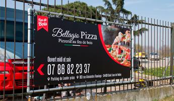 barriere publicitaire bache tendue pizzeria